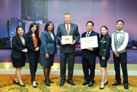 "General Manager Willem Pentermann with management and staff, proudly receiving the ""ASEAN MICE Venue Standard 2020-2022."""