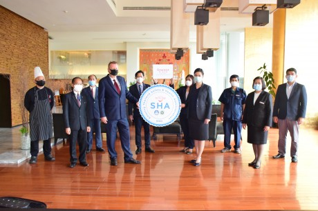 Management & Staff of the Ramada Plaza Bangkok Menam Riverside with the SHA certificate